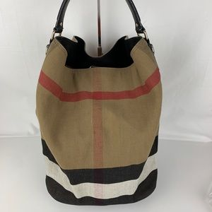 Burberry Medium Ashby Check Print Tote Bag